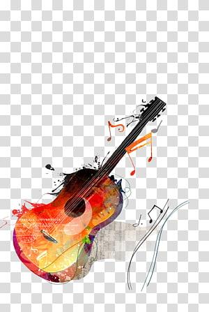 ilustrasi gitar merah dan kuning, Lukisan Cat Air Gambar Gitar Kanvas, gitar png