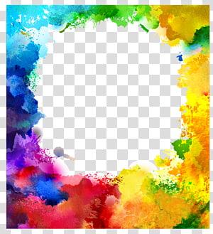 Lukisan cat air ilustrasi Seni Ilustrasi, Cat air percikan, bingkai filter warna pelangi png