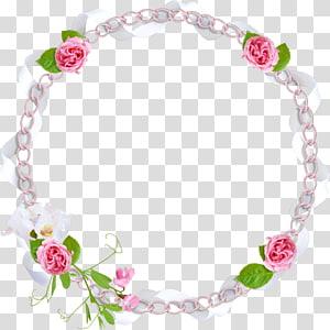 perbatasan bunga bulat merah muda dan putih, Frame Bunga, perbatasan bunga merah muda png