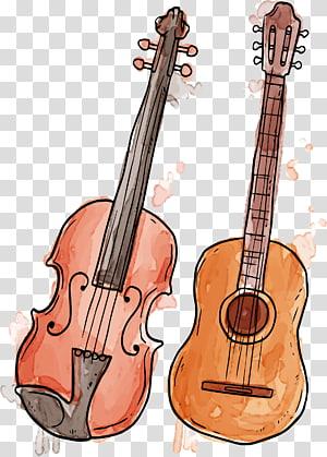 Alat musik lukisan Cat Air Biola, Menggambar alat musik png