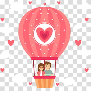 pria dan wanita mengendarai ilustrasi balon udara panas, balon udara panas, Pasangan ilustrasi balon udara panas PNG clipart