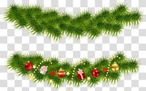 ilustrasi dekorasi Natal hijau dan merah, Pohon Natal Garland, Christmas Pine Garlands png