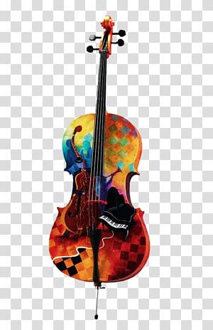 seni viola warna-warni, Cello Alat Musik Lukisan Biola, Biola Warna dan Piano png