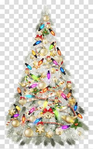 sepenuhnya dihiasi ilustrasi pohon natal, pohon natal hari natal, pohon natal perak deco PNG clipart
