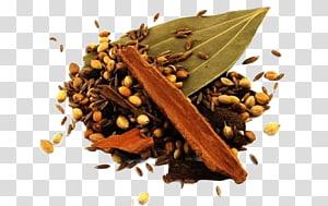 Tongkat kayu manis dan biji-bijian biji dengan daun hijau, masakan India Garam masala Tandoori ayam Ayam tikka masala Spice, SPICES png