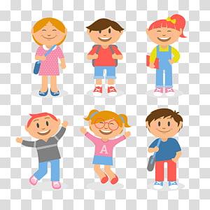 ilustrasi enam anak perempuan dan laki-laki, Siswa Sekolah Anak, dari anak-anak png