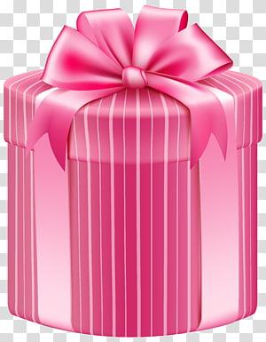 ilustrasi kotak hadiah merah muda, Kotak Hadiah, Kotak Hadiah Bergaris Merah Muda png