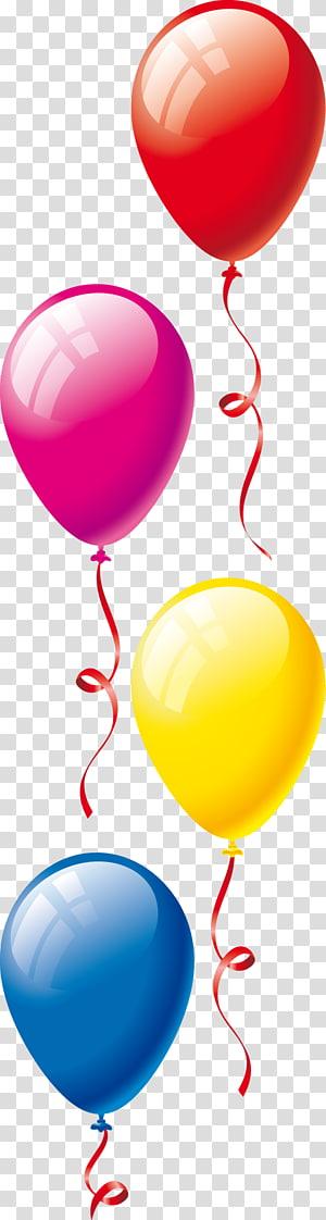 ilustrasi balon empat macam warna, Pesta Ulang Tahun balon mainan, balon png
