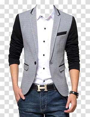 Laki-laki jas formal hitam dan abu-abu, Blazer Suit Fashion Coat, Blazer png