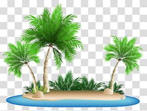 Kokopo Beach Bungalow Resort, Pulau Palm Trees, pulau dengan ilustrasi pohon-pohon palem png