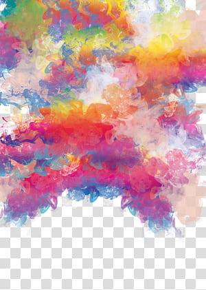 Lukisan cat air, Bahan arsir warna cat air, lukisan abstrak kuning, oranye, dan merah muda PNG clipart