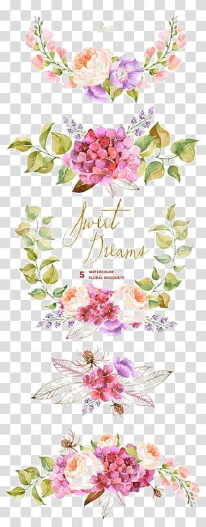 Buket bunga, Lukisan cat air, Undangan pernikahan, Perbatasan bunga cat air, Ilustrasi bunga merah muda dan ungu png