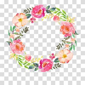Cat Air Bunga Karangan Bunga Lukisan cat air Garland, bunga cat air, karangan bunga bunga merah muda, hijau, dan merah png