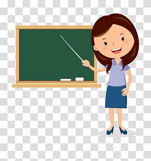 Papan Tulis Guru Kartun, Papan Tulis Guru kartun, guru mengarahkan tongkatnya ke ilustrasi papan tulis PNG clipart
