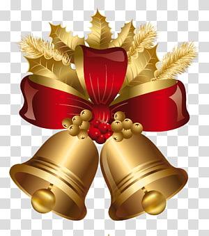 Dekorasi Natal Jingle bell Emas, Emas dan Merah Natal Bells, ilustrasi bel coklat dan merah png