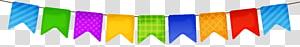 bunting multicolor, Ikon Pesta, Streamer Berwarna-warni png