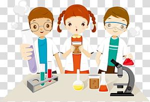 dua pria dan satu wanita dalam ilustrasi laboratorium, Ilustrasi Pendidikan Anak Sekolah, Anak-anak dari penelitian ilmiah png
