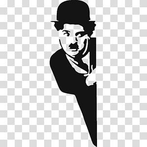ilustrasi pria yang menyelinap, Charlie Chaplin Stencil The Tramp Sticker, Charlie Chaplin png