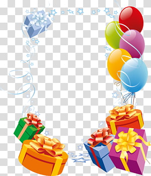 ilustrasi hadiah dan balon, Kartu Selamat Ulang Tahun!bingkai kartu ucapan, balon kotak hadiah perbatasan dekoratif png