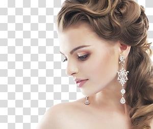 wanita mengenakan anting-anting chandelier berwarna perak, Bride Hairstyle Wedding Comb Beauty Parlor, Bride PNG clipart