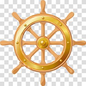seni cilp roda kapal emas, Jangkar kapal, roda kemudi png