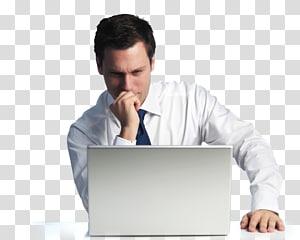 pria yang duduk di depan laptop putih, Pemasaran digital Layanan bisnis-ke-bisnis elektronik, pria duduk png