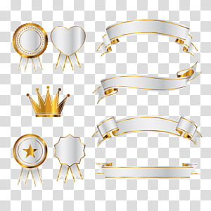 Ikon Euclidean, Spanduk emas, ilustrasi mahkota dan pita png