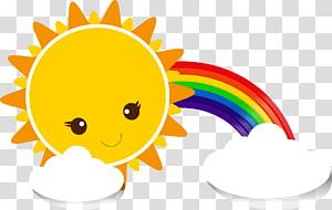 Kartun Langit Kuning, awan pelangi Matahari, pelangi dan matahari PNG clipart