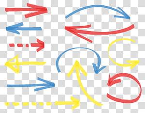 ilustrasi arah panah kuning, merah, dan biru, Spidol Panah Gambar Euclidean, Mark pena panah berwarna tangan png