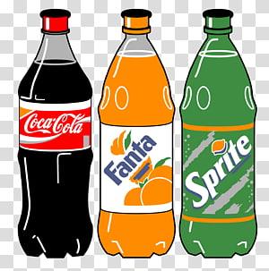 Ilustrasi Coca-Cola, Sprite, dan botol Fanta, Minuman ringan Coca-Cola dari Kafein, Minuman Coca-Cola dalam botol PNG clipart