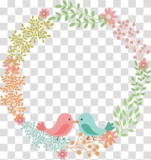 Undangan pernikahan Karangan Bunga Bunga Serbet, Cinta burung bunga karangan bunga label teks, karangan bunga bunga warna-warni png