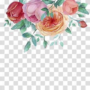Lukisan cat air Bunga Taman mawar, bingkai dekoratif bunga cat air yang dilukis dengan Tangan, lukisan bunga merah, ungu, dan oranye png