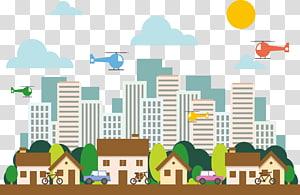 ilustrasi bangunan kota, Ilustrasi Rumah Perumahan, Perumahan kota png