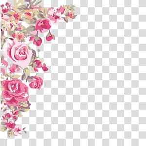 Bunga ,, sudut bunga dicat, mawar merah muda png