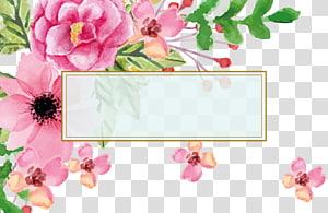 Euclidean Bunga Cat Air lukisan kartu Mengunjungi, Pernikahan berkat undangan kartu ucapan Hari Ibu perbatasan teks, bunga merah muda ilustrasi png