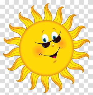 Kartun, Kartun Matahari, ilustrasi matahari yang tersenyum PNG clipart