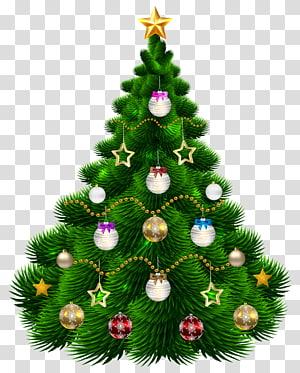 pohon natal hijau dengan ilustrasi pernak-pernik, hiasan pohon natal, pohon natal yang indah dengan ornamen PNG clipart
