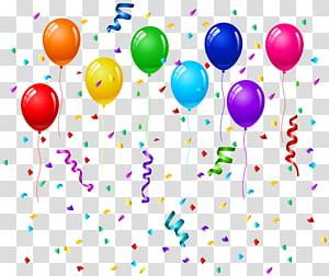 ilustrasi pesta balon, kartu ucapan Pesta Ulang Tahun Balon, Confetti dan Balon png