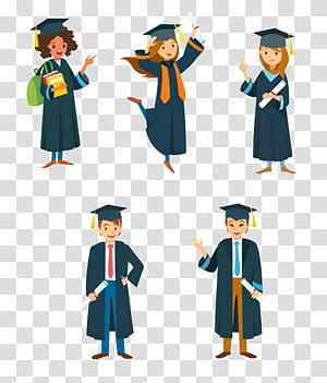 Upacara Wisuda Mahasiswa Kartun Universitas, Lulusan, pria dan wanita mengenakan gaun akademik png