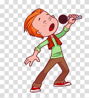 anak laki-laki memegang mikrofon, Ilustrasi Kartun Bernyanyi Mikrofon, Anak Bernyanyi PNG clipart