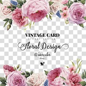 Undangan pernikahan Kartu Ucapan Bunga, HD cat air mawar yang dilukis dengan tangan, iklan desain bunga kartu vintage png