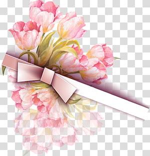 Undangan pernikahan, Pita Cat Air Tulip, buket tulip merah muda dengan ilustrasi pita merah muda PNG clipart