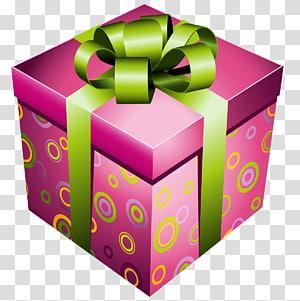 Ikon Euclidean Hadiah, Kotak Hadiah Merah Muda dengan Busur Hijau, kotak hadiah merah muda png