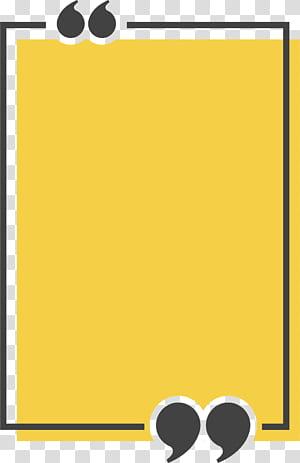Ikon Kutipan Kotak Teks, Kotak judul persegi panjang kuning, ilustrasi kuning dan hitam png