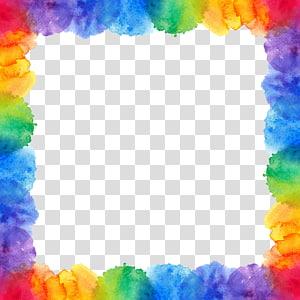 Lukisan cat air Rainbow, Rainbow perbatasan, ilustrasi bingkai kapas warna-warni png