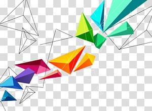 Blok segitiga geometris tiga dimensi, ilustrasi teal, oranye, merah, dan ungu PNG clipart