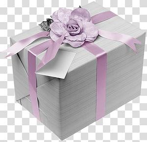 kotak hadiah abu-abu dengan busur hadiah bunga ungu, Hadiah Ulang Tahun, Hadiah Perak dengan Bow Merah Muda png