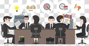 pria dan wanita duduk di kursi ilustrasi, Manajemen Microsoft PowerPoint Template Bisnis Ppt, orang-orang di pertemuan itu png