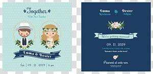 Tangkapan layar undangan Emma & Dexter, Ilustrasi Undangan Pernikahan Mempelai Pria, Desain undangan pernikahan kartun PNG clipart