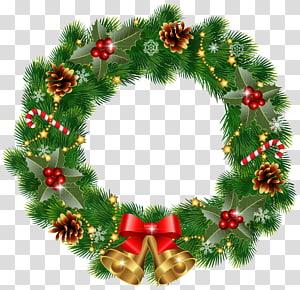 karangan bunga Natal hijau, dekorasi Natal Karangan Bunga, Karangan Bunga Natal dengan Lonceng png